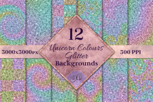 Print on Demand: Unicorn Colours Glitter Backgrounds Graphic Backgrounds By SapphireXDesigns