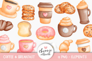 Print on Demand: Watercolor Coffee and Breakfast Clipart Graphic Illustrations By Chonnieartwork