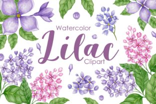 Print on Demand: Watercolor Lilac Clipart Graphic Illustrations By Kira Art Story
