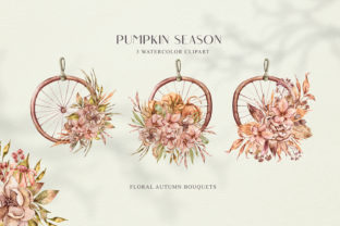 Print on Demand: Watercolor Pumpkin Wreath Clipart. Graphic Print Templates By Tiana Geo