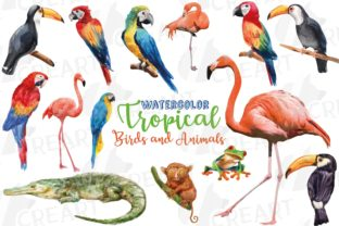 Print on Demand: Watercolor Tropical Birds & Animals Art Graphic Print Templates By CreartGraphics