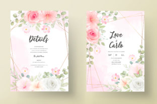 Wedding Invitation with Romantic Flowers Graphic Print Templates By dinomikael01