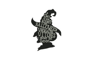 Witch Hat Silhouette Halloween Embroidery Design By DigitEMB