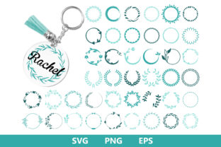 Wreath Keychain Key Ring Pattern Graphic Crafts By MLStudio