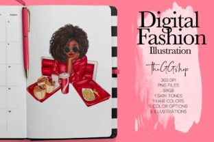 Print on Demand: Afro American Planner Girl Png Cliparts Graphic Illustrations By TheGGShop