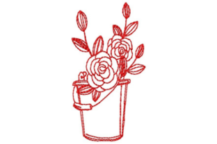 Bucket of Roses Outline Blumenumrisse Stickdesign von designsbymira