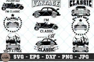 Print on Demand: Classic Cars Bundle SVG Cars Bundle SVG Graphic Crafts By MChCraft