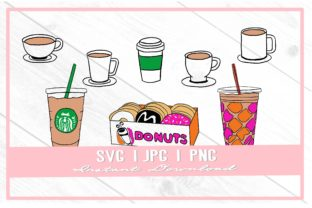 Print on Demand: Coffee and Donuts Doodles Coffee Lover Graphic Illustrations By thecouturekitten