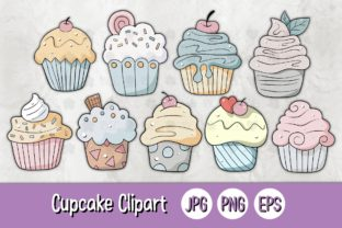 Print on Demand: Cupcake 01 C Clipart Sticker Graphic Illustrations By 18CC