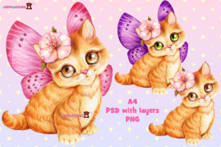 Print on Demand: Fairy Kitten with Magic Wings Graphic Illustrations By ladymishka