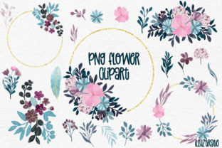 Print on Demand: Floral Clipart - Pink & Navy Clipart Graphic Illustrations By illuztrate