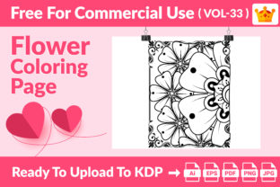Flower Coloring Page KDP Interior Vol 33 Graphic Coloring Pages & Books Adults By Md Abu Saeid