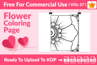 Flower Coloring Page KDP Interior Vol 57 Graphic Coloring Pages & Books Kids By Creative king
