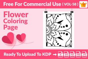 Flower Coloring Page KDP Interior Vol 58 Graphic Coloring Pages & Books Kids By Creative king