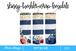 Print on Demand: Flowers and Stripes Skinny Tumbler 3 Graphic Print Templates By Maná Design