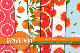Print on Demand: Grapefruit Seamless Pattern Fruits Graphic Patterns By jannta