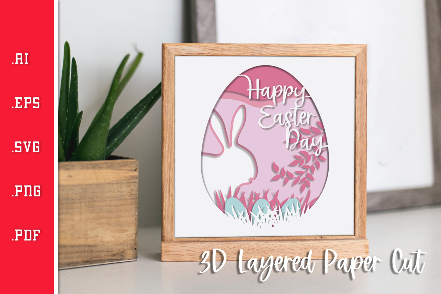 Happy Easter 3D Layered Paper Cut -... SVG File