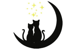 In Loved Cats on the Moon Cats Embroidery Design By Dizzy Embroidery Designs