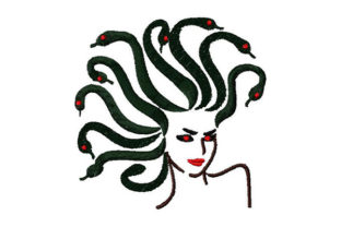 Print on Demand: Medusa Snaked Hair Fashion & Beauty Embroidery Design By Dizzy Embroidery Designs