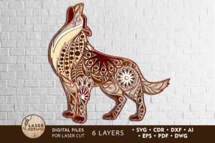 Multilayer Cut File WOLF Graphic Crafts By LaserCutano