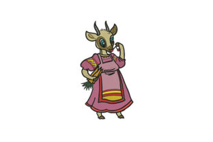 Nanny Goat Housewife Farm Animals Embroidery Design By DigitEMB