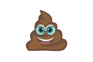 Poo Smiling Nerd Emoji Friends Embroidery Design By DigitEMB