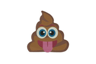 Poo with Tongue Emoji Friends Embroidery Design By DigitEMB