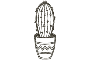 Potted Cactus Single Flowers & Plants Embroidery Design By designsbymira
