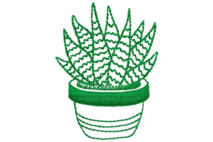 Potted Succulent Outline Flowers Embroidery Design By designsbymira