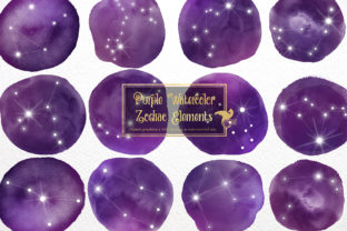 Print on Demand: Purple Watercolor Zodiac Clipart Graphic Illustrations By Digital Curio