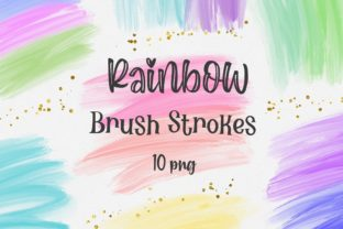 Print on Demand: Rainbow Brush Strokes Clipart Graphic Backgrounds By PinkPearly