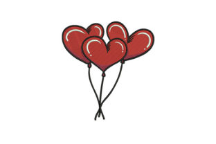 Red Heart Balloons Valentine's Day Embroidery Design By DigitEMB