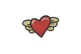 Red Heart with Wings Valentine's Day Embroidery Design By DigitEMB