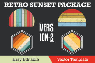 Print on Demand: Retro Sunset Grunge Package Version-2 Graphic Illustrations By ohesdesign