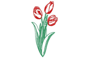Sketched Tulip Bunch Bouquets & Bunches Embroidery Design By designsbymira