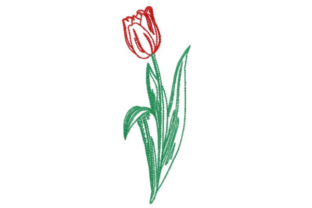 Sketched Tulip Single Flowers & Plants Embroidery Design By designsbymira