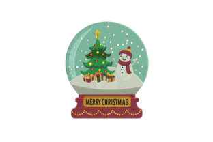 Snowman and Tree Globe Christmas Embroidery Design By DigitEMB