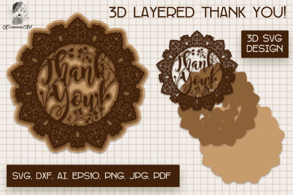 Thank You Paper Cut SVG, 3d Layered... SVG File