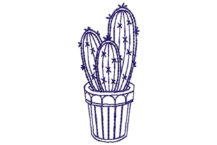 Three Potted Cacti Outline Outline Flowers Embroidery Design By designsbymira