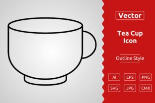 Print on Demand: Vector Tea Cup Outline Icon Design Graphic Icons By Muhammad Atiq