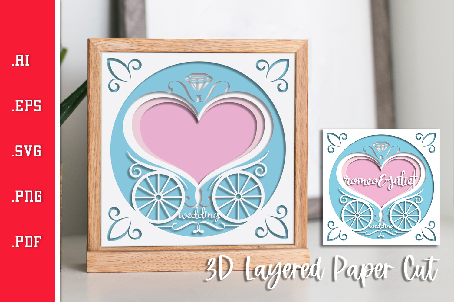 Wedding Couple Sign Layered Paper Cut SVG File