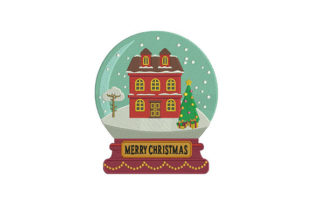 Winter House Globe Christmas Embroidery Design By DigitEMB
