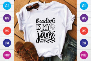 Print on Demand: Reading is My Jam Svg Design Graphic Print Templates By BDB_Graphics