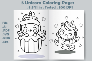 5 Unicorn Coloring Pages for Kids - 2 Graphic Coloring Pages & Books Kids By Kdp Speed