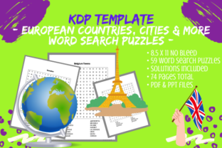 Print on Demand: 59 European Cities Countries Word Search Graphic KDP Interiors By Tomboy Designs