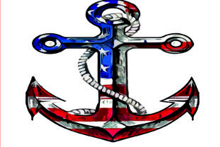 American Flag Anchor, Sublimation, PNG Graphic Graphic Templates By AlaBala