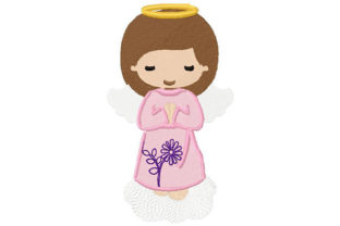 Print on Demand: Baby Girl Angel Praying Boys & Girls Embroidery Design By Dizzy Embroidery Designs