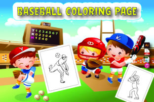 Baseball Coloring Page for Kids Graphic KDP Interiors By Moonz Coloring