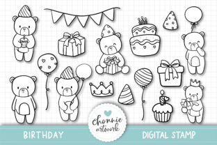 Print on Demand: Birthday Party Teddy Bear Digital Stamps Graphic Illustrations By Chonnieartwork