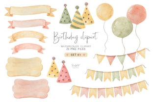 Birthday Watercolor Clipart Set Graphic Illustrations By brushartdesigns